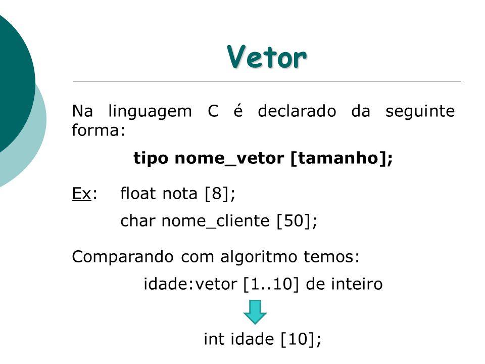 tipo nome_vetor [tamanho];